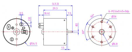 直流电机可选择外径搭配碳刷与永久磁铁规格,另购编码控制器或是水滴式齿轮箱。