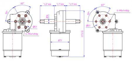 Worm gear can provide very high reduction ratios can choose right and left side output shaft.