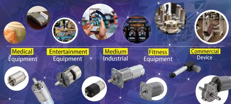 The applications for DC motors and DC geared motors in various area uses.