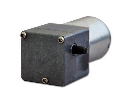 客制3V - 24V 蜗杆蜗轮式电机25mm 齿轮箱搭配直流 电机 25mm 外径 - 6V高扭力涡杆 电机减速箱90度垂直出力轴可搭配控制编码器与外接电源。