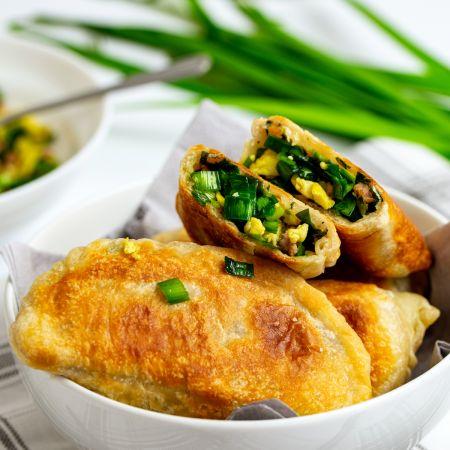 gebakken dumpling met Chinees bieslook