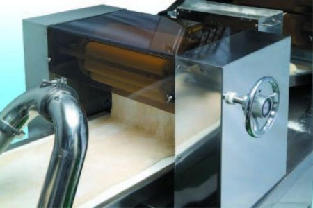 Sheeting rollers set sheet dough belt thinner and even without destroying texture of dough.
