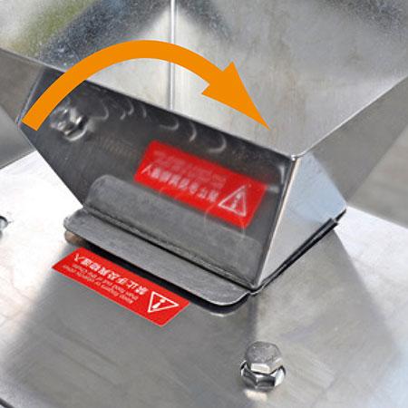 O design de grande funil da porta de alimenta??o melhora a eficiência.