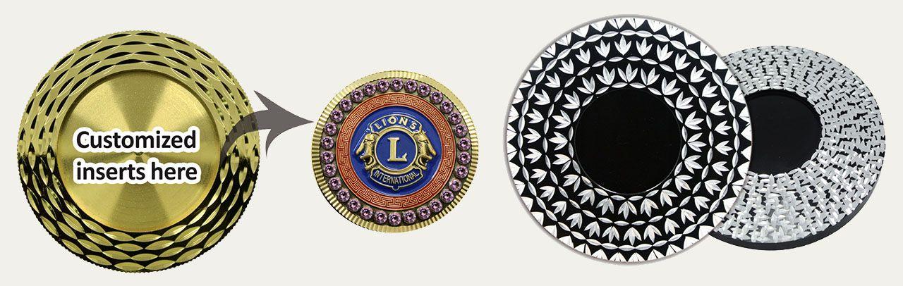 Custom Metal Emblems w/Diamond Cut Patterns
