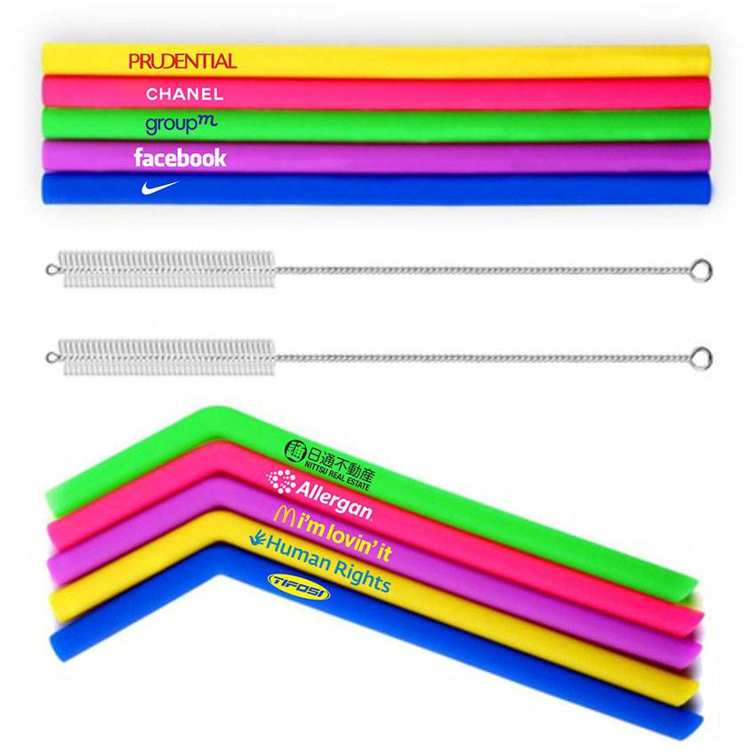 ECO Silicone Straws with Custom LOGO