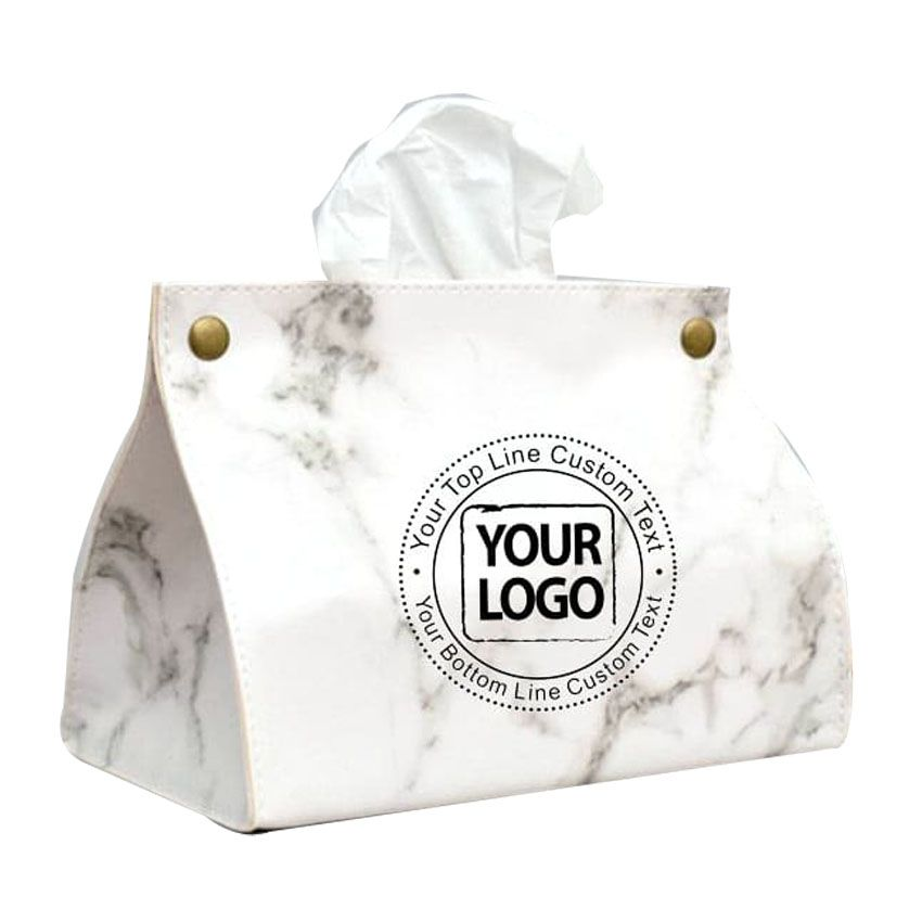 Personalized Leather Tissue Holder