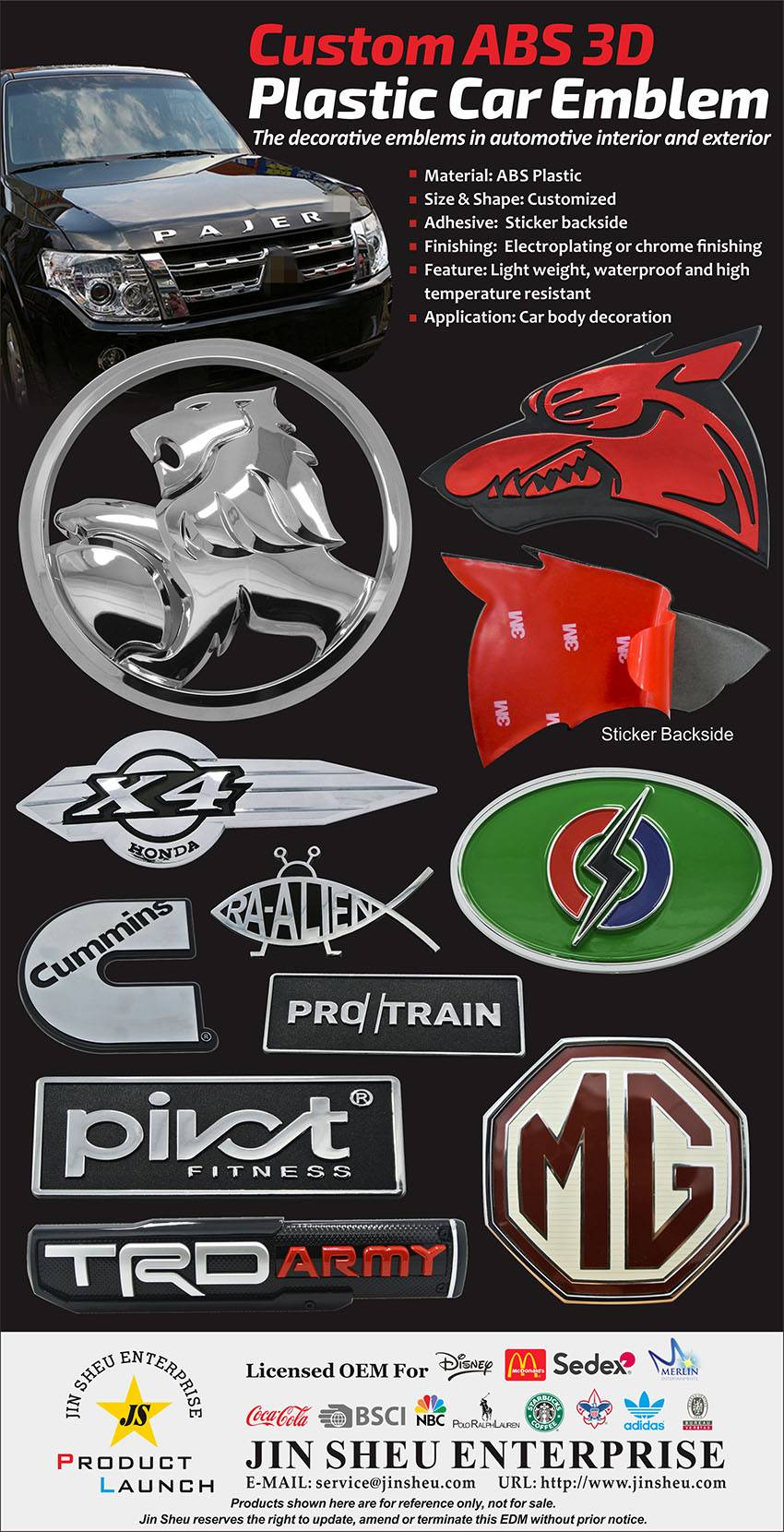 custom plastic logo emblems
