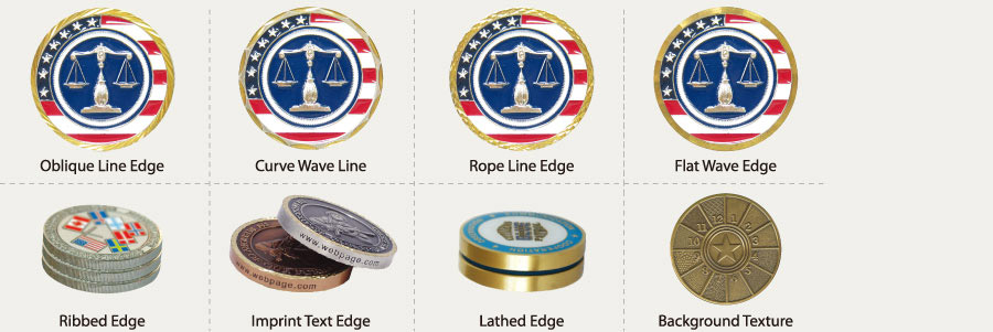 custom made coins edge patterns