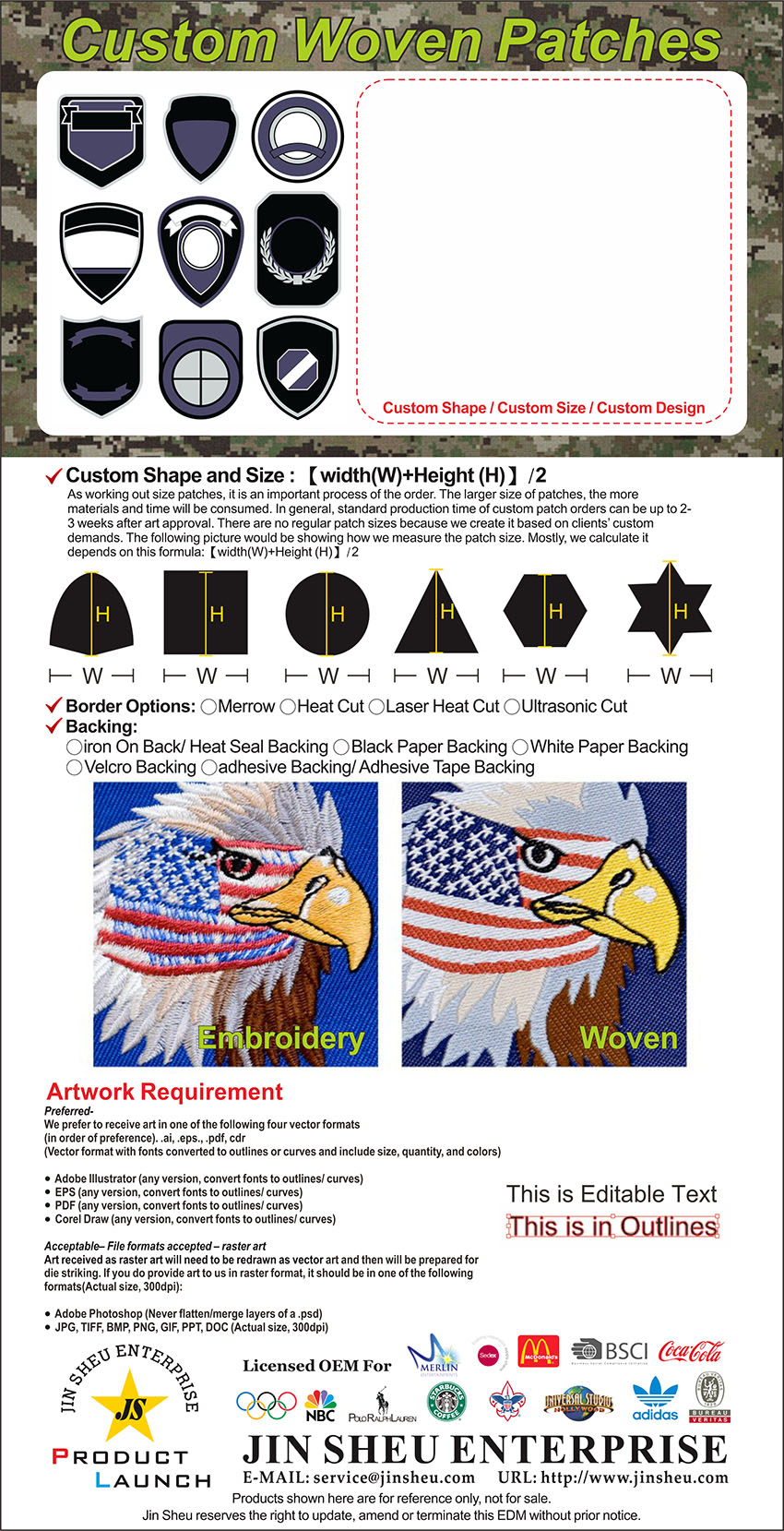 custom military patch gift and premiums items manufacturer jin sheu
