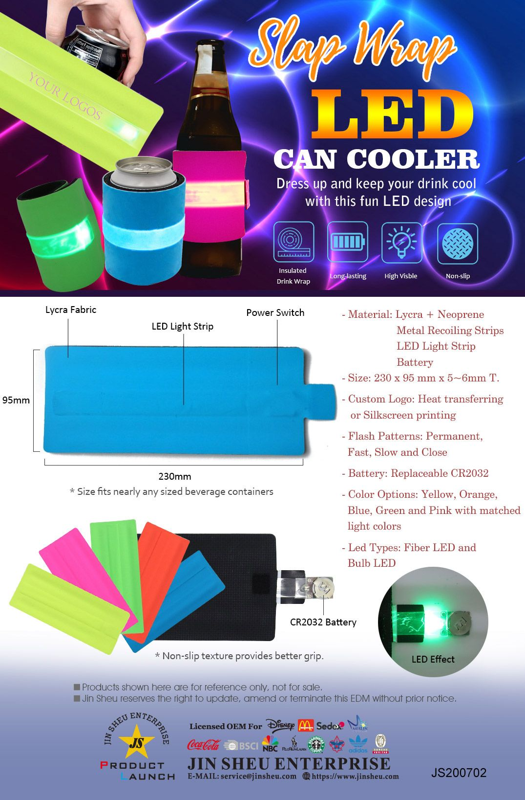LED slap can cooler