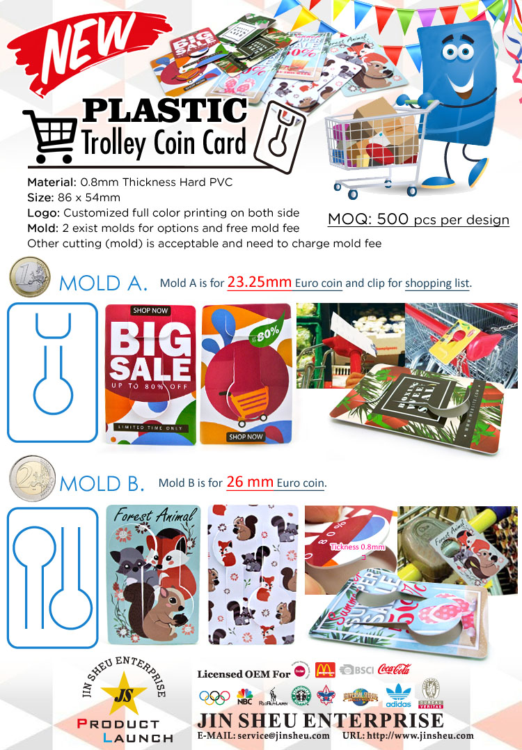 Plastic Trolley Coin Card | Promotional Products & Items