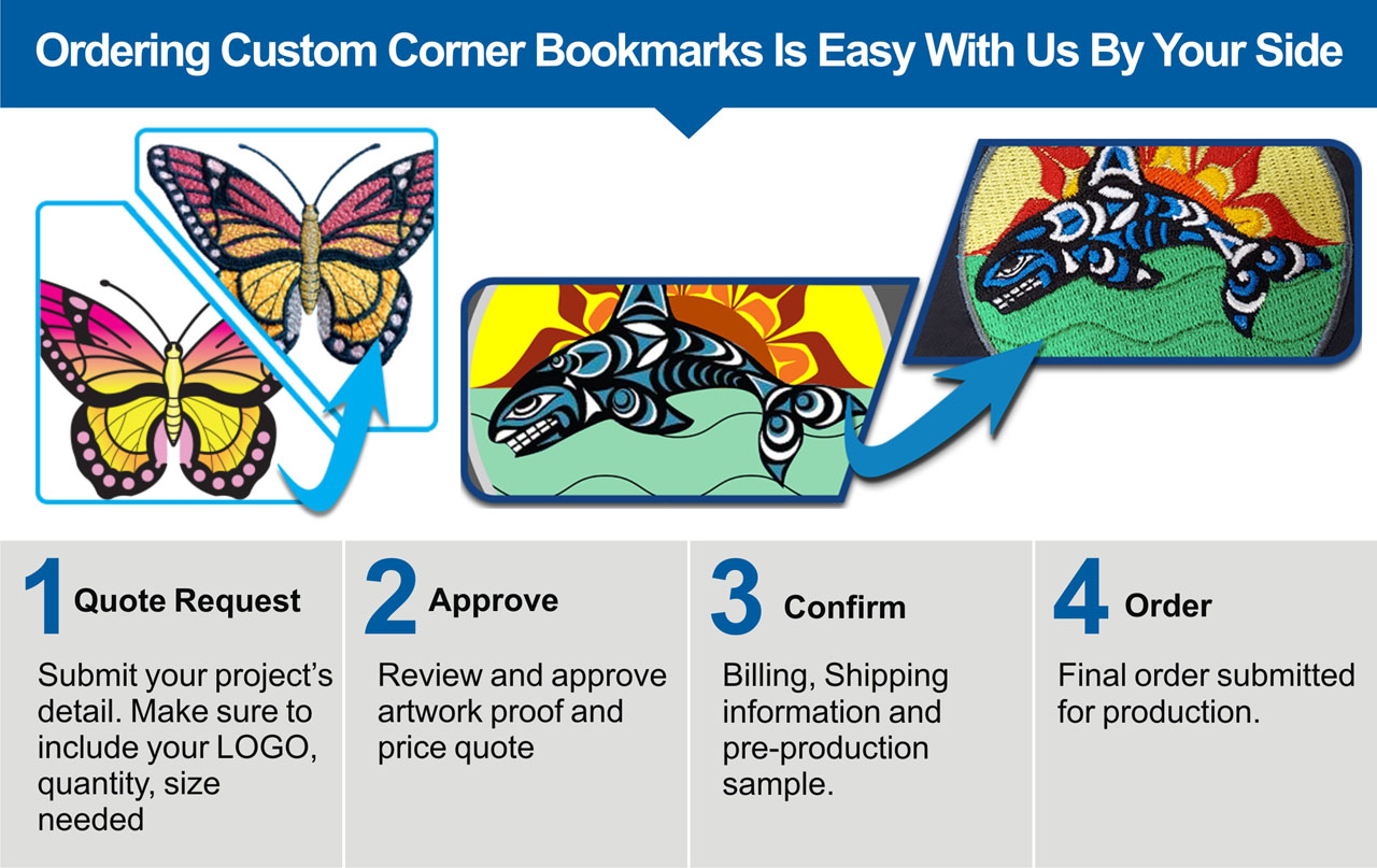 personalized embroidery corner bookmarks
