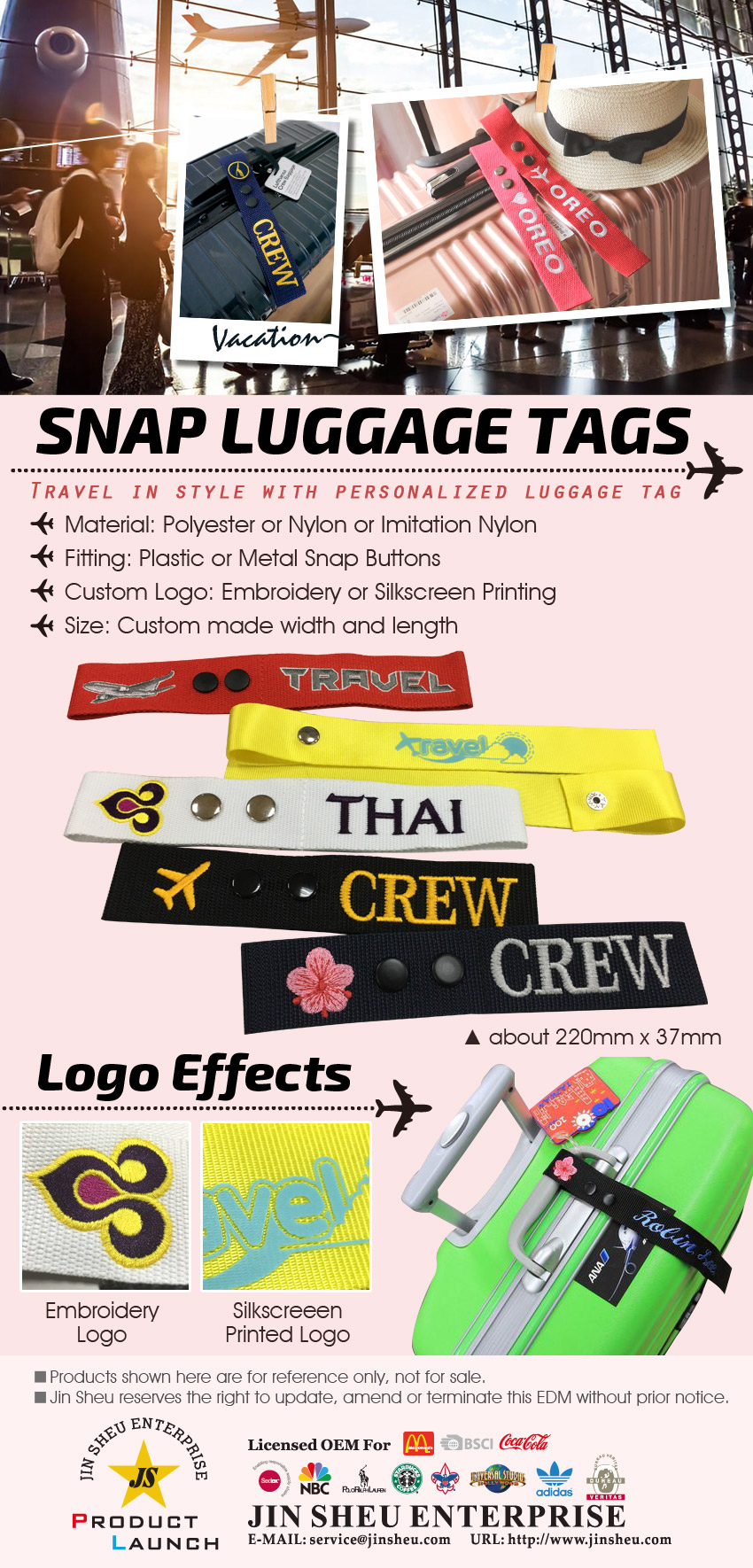 Personalized Snap Luggage Tags