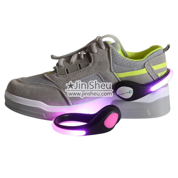 LED shoe clip attached on sneaker
