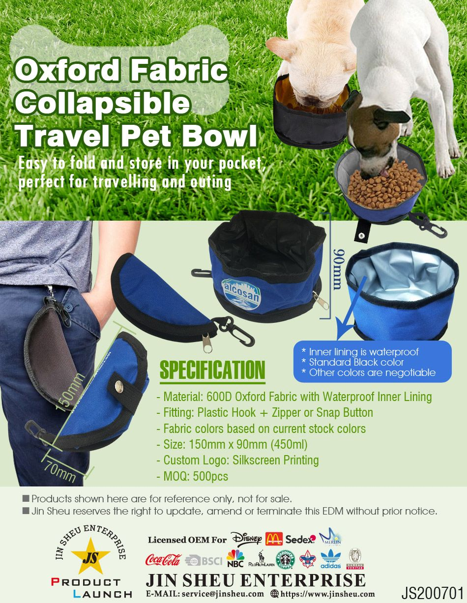 Oxford Fabric Collapsible Travel Dog Bowl