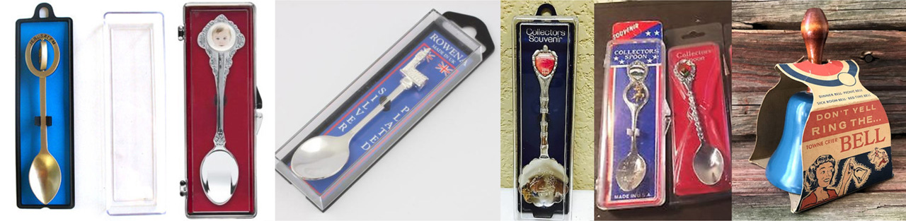metal Souvenir Spoons & Dinner Bells gift box