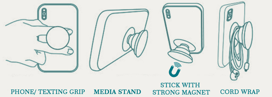 mobile accessory collapsible phone grip and stands