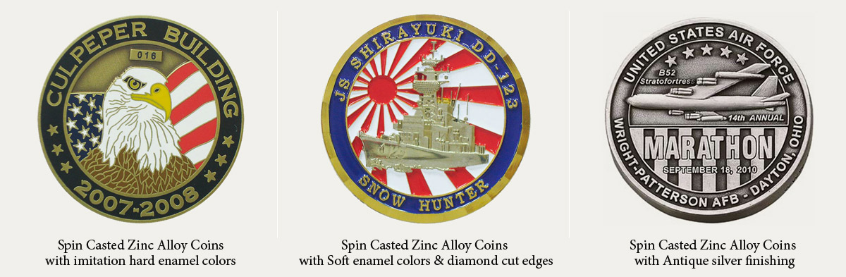 Spin Cast Zinc Alloy Coins | Promotional Products & Items