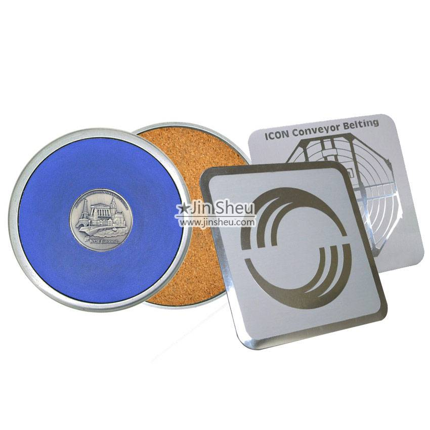 Custom made lasting impression metal drink coasters with Jin Sheu.