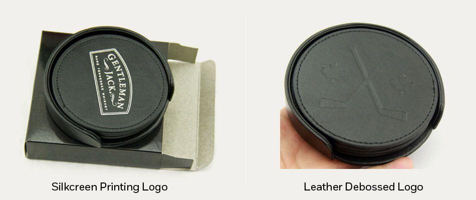 custom logo leather coasters
