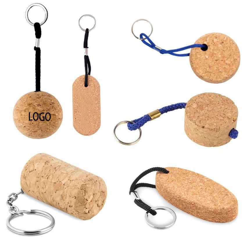 Custom Silkscreen Printed Cork Keychains