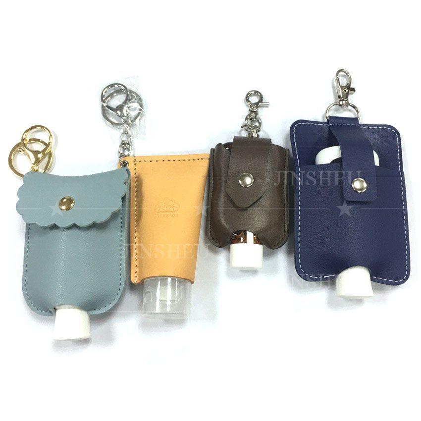 Leather Hand Sanitizer Holder Keychain