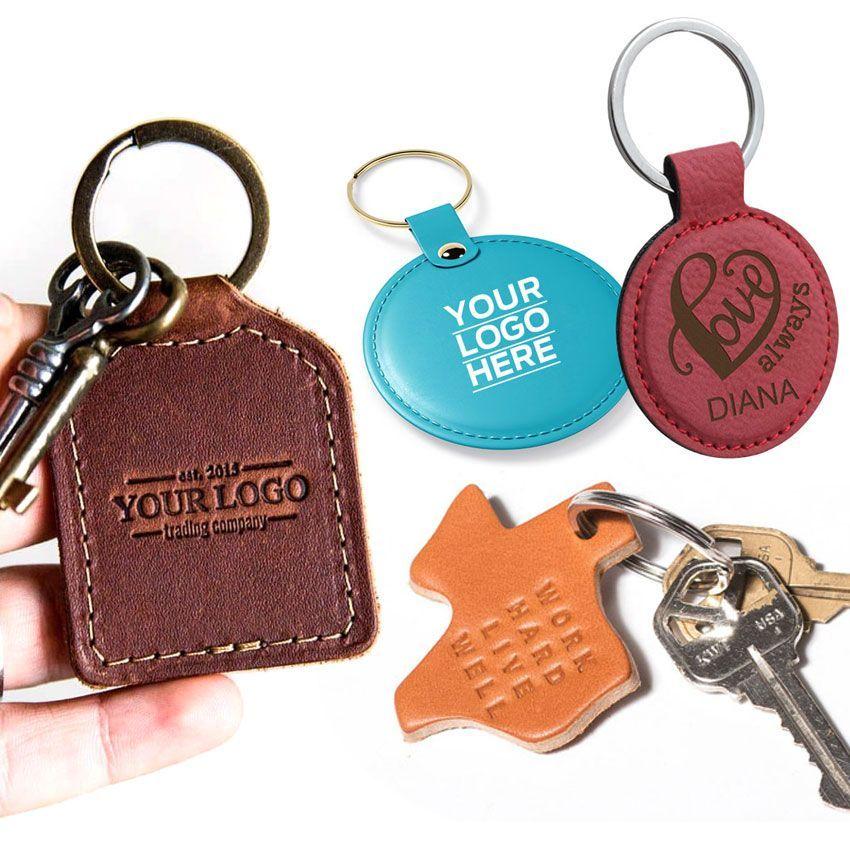 Custom Leather Keychains, Personalized Leather Keyrings