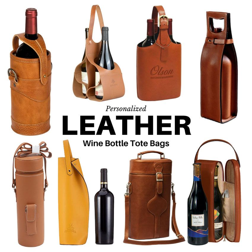Leather Wine Bottle Tote Bags