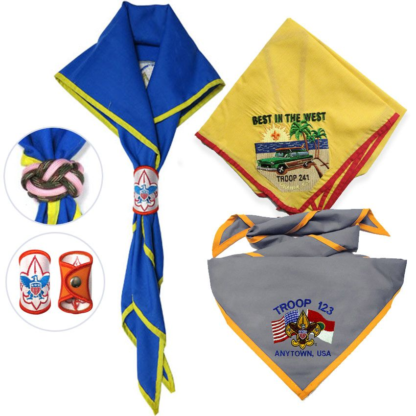 Embroidered logo scout neckerchiefs and woggles