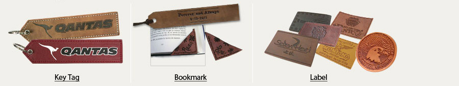 leather bookmarks, key tags