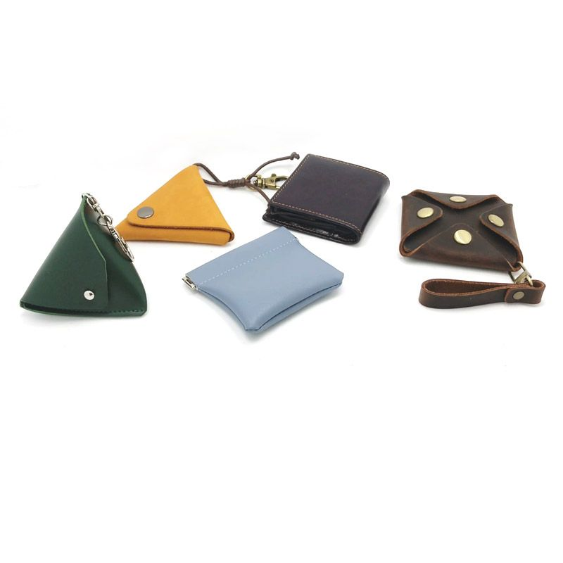 Custom logo and color leather coin pouches