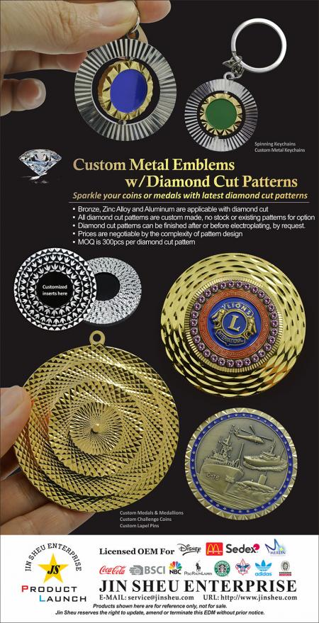 Custom metal emblems w/diamond cut patterns. - custom metal emblems