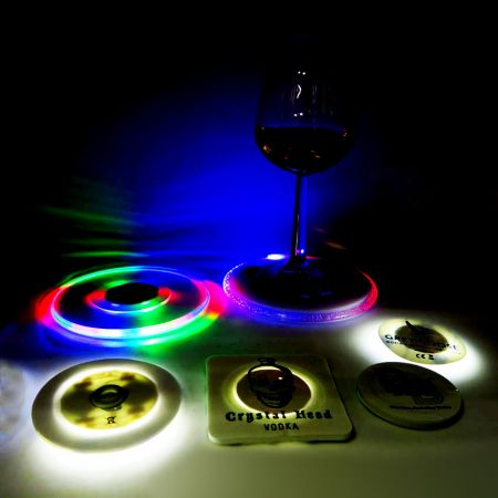 Customized LED Bottle Sticker/ LED Coaster - Customized bar gift ideas