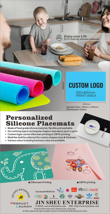 Custom silicone table mat - personalised silicone placemats