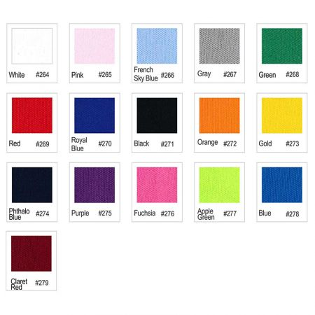 Cloth face mask color chart