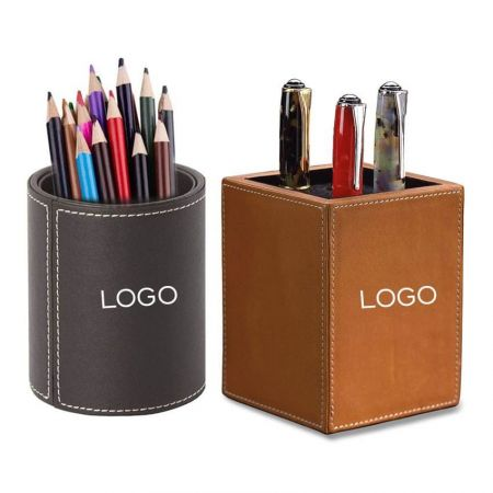 Personalized Leather Pen Cup - Leather Pen Stand