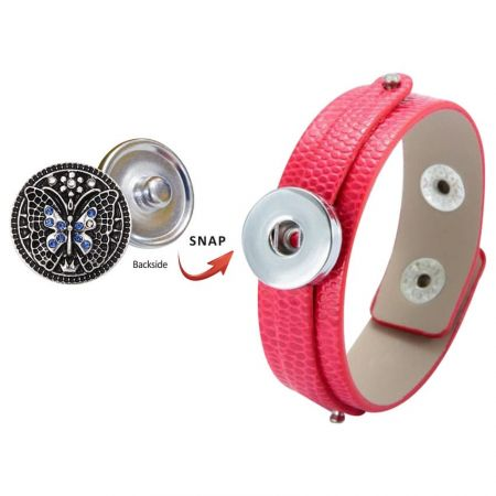 Leather Snap Bracelet + Snap Buttons - Custom Leather Bracelet