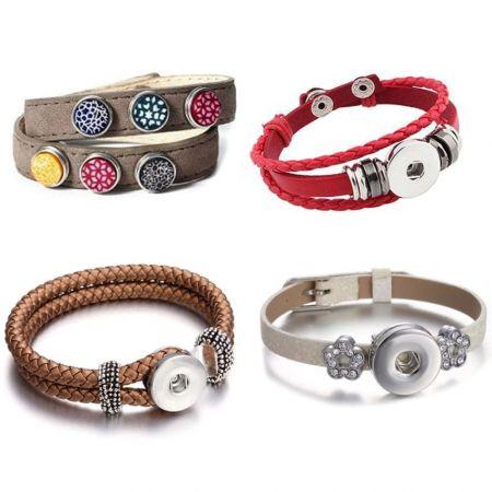 customized leather snap bracelet