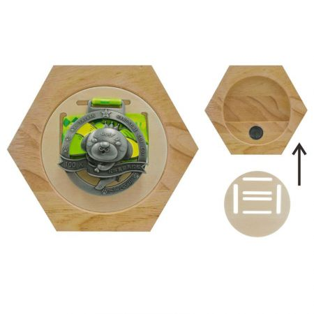 Medals Wooden Hexagon Holder - Wholesale Medals Wooden Hexagon Holder