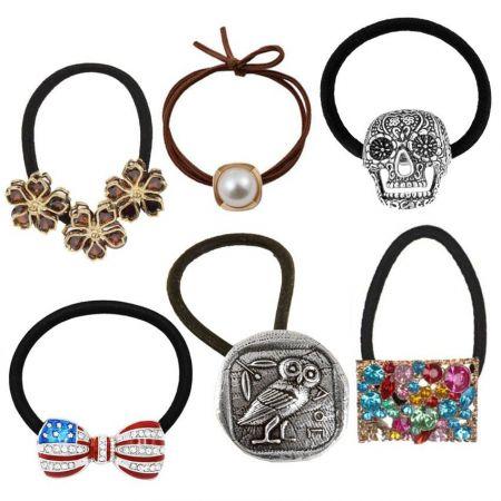 Custom Hair Tie with Metal Charms - Customized Charm Hair Tie