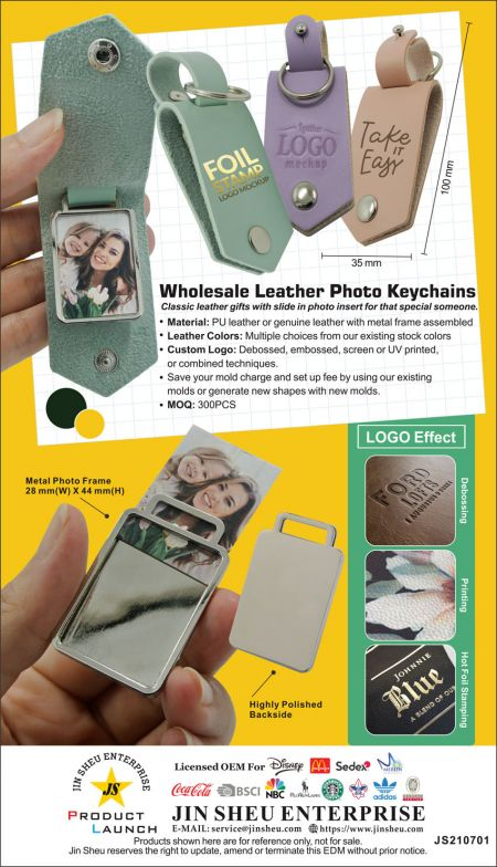 Personalized Leather Photo Keychain - Wholesale leather keychain with picture