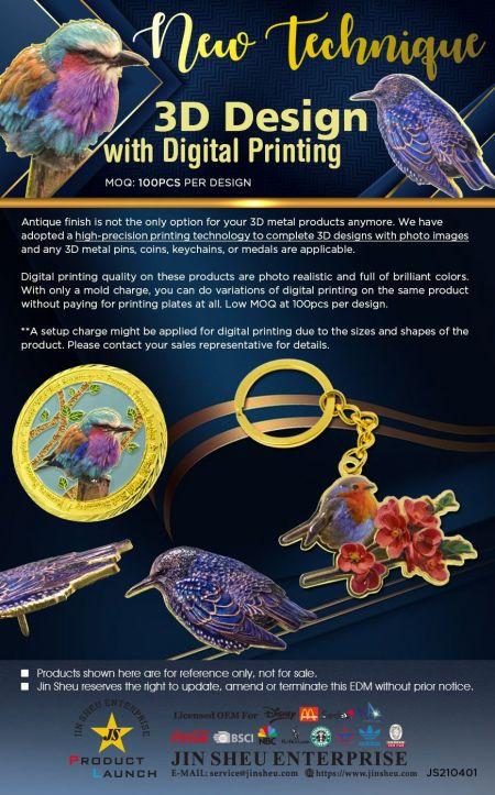 3D Design with Digital Printing - Custom Made Metal Souvenirs in 3D Design with Digital Printing