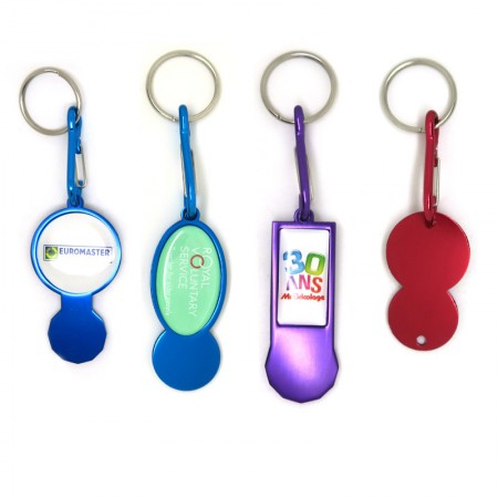 Open Design Aluminum Trolley Token Stick Keyring - 4 Shapes Aluminium Trolley Coin Chips