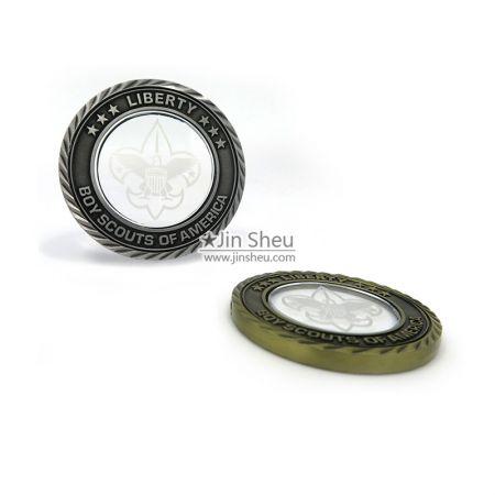 crystal transparent coins