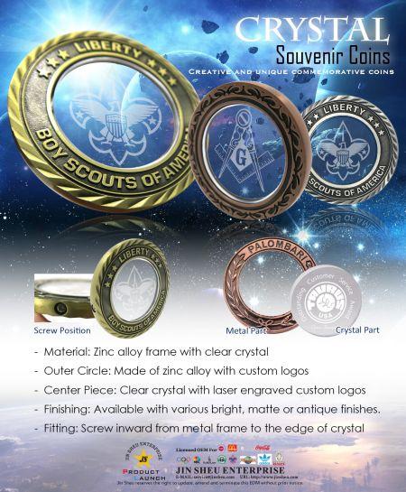 Crystal Souvenir Coins - Crystal Commemorative Coins