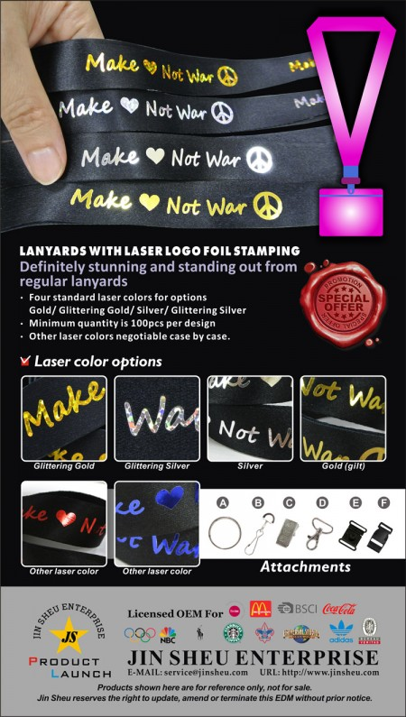 One-stop supplier of high-quality lanyard with laser logo foil stamping - Custom lanyard with your logo