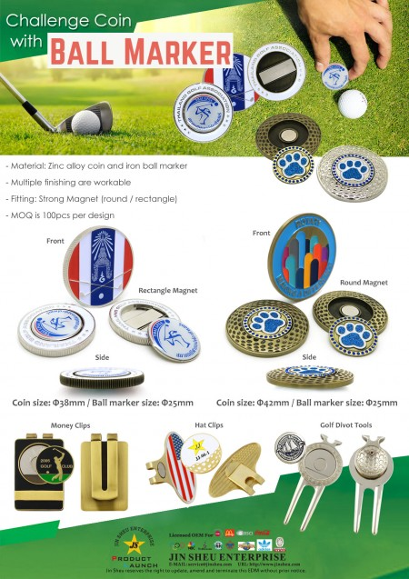 Challenge coin with ball marker - EDM golf coin marker