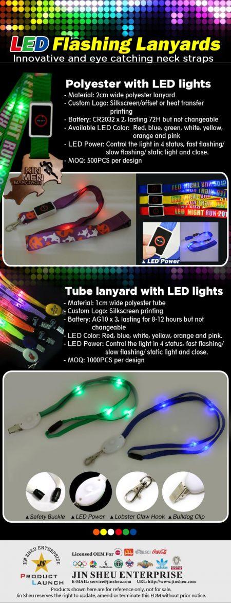 LED Flashing Lanyards - Innovative and eye catching led flashing neck straps