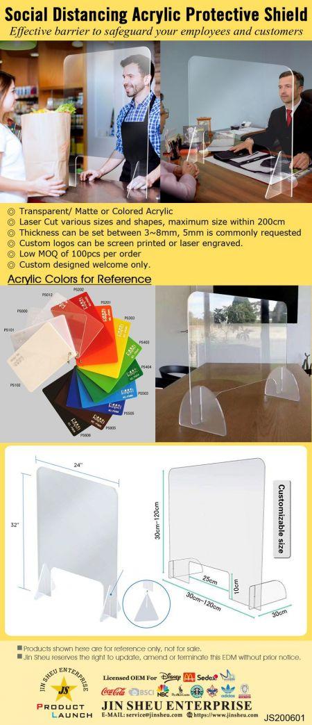 Social Distancing Acrylic Protective Shield - Social Distancing Acrylic Protective Shield