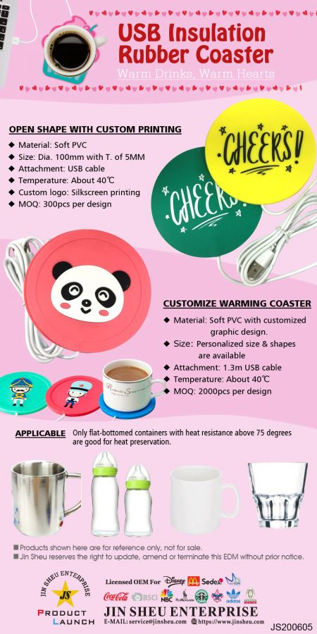 USB Insulation Rubber Coasters - USB Insulation Mug Round Coasters